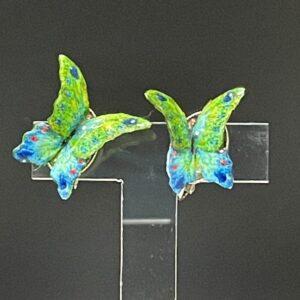 緑瑠璃蝶イヤリング